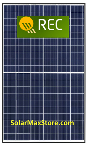 REC 290 Watt TwinPeak2 Poly Solar Panel | Black Frame - White Backsheet BoW | 60 cell x 2