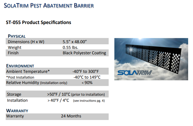 Solatrim Best Animal Barrier For Roof Top Solar Systems